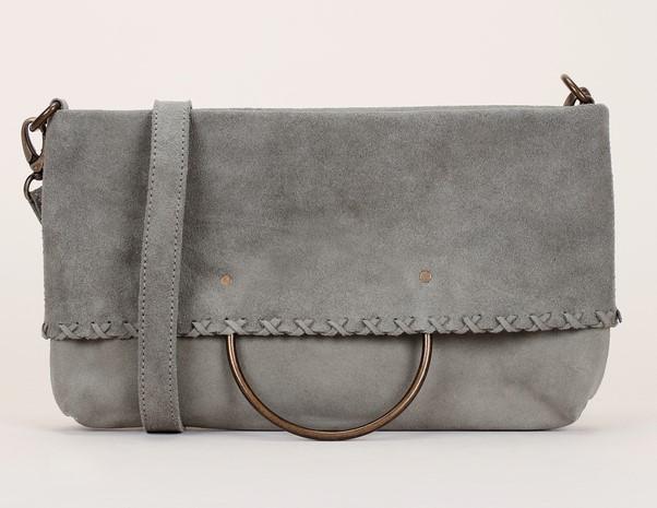 Pepe Jeans Gracia Bag Cabas 2 en 1 en cuir suède kaki gris