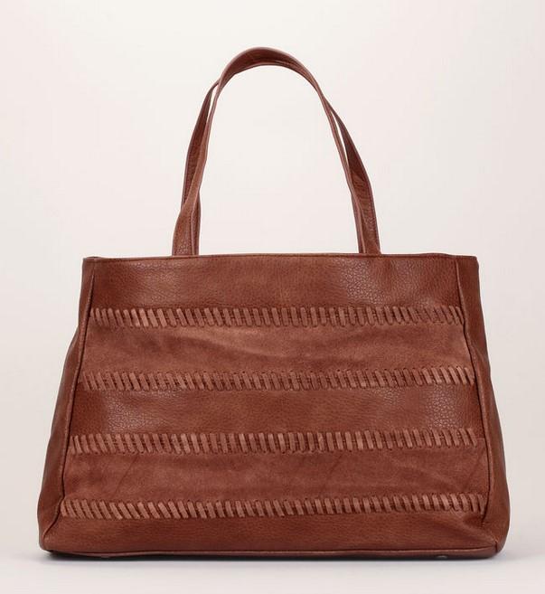 Pepe Jeans Cabas Mae Bag bi-matière texturé marron détails en cuir suède