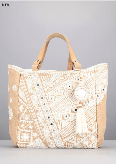 Cabas jute broderie blanche Dara Mirror Natural Star Mela - Sacs Monshowroom
