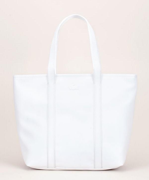 Lacoste Cabas texturé blanc patch logo - Sacs Monshowroom