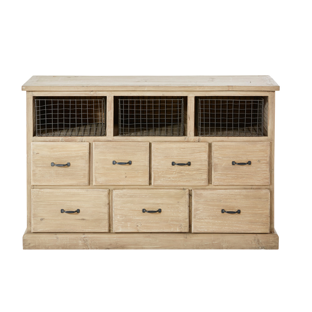 cabinet 7 tiroirs valmont en pin recycl cabinet maisons du monde ventes pas. Black Bedroom Furniture Sets. Home Design Ideas