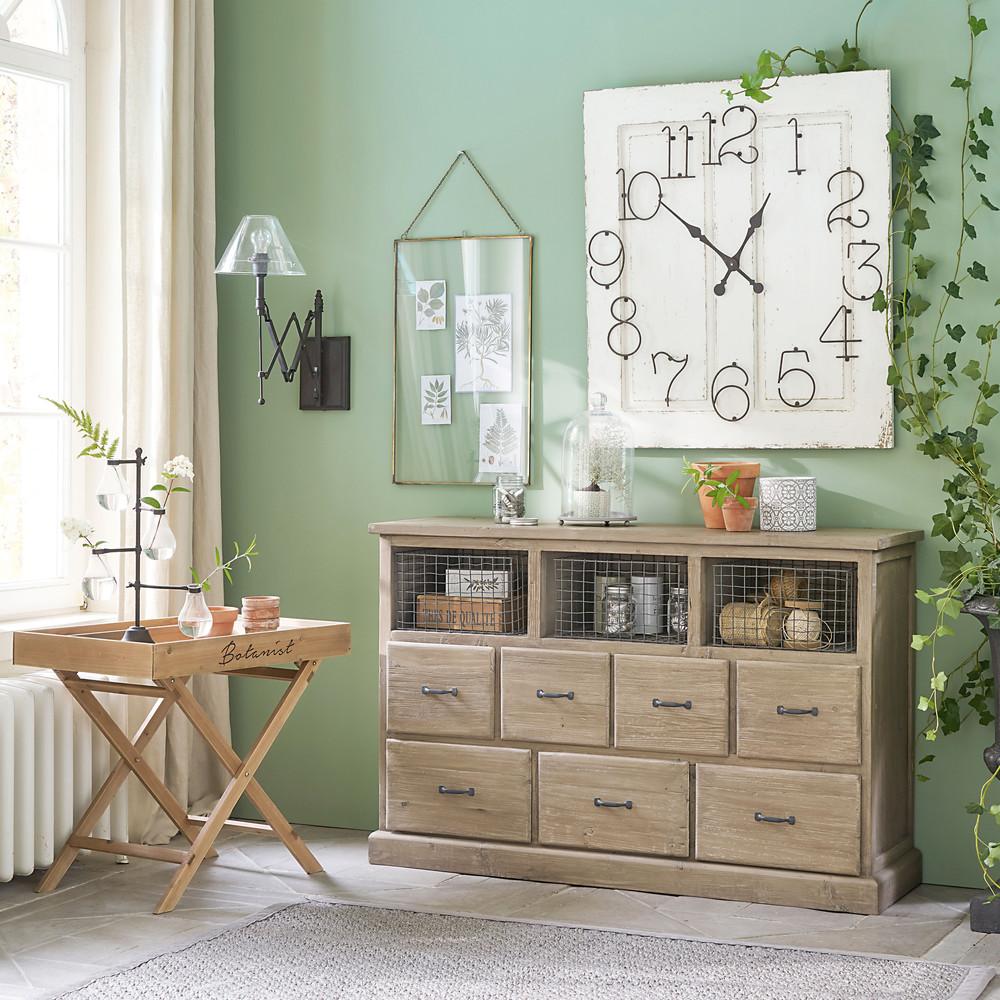 cabinet 7 tiroirs valmont en pin recycl cabinet maisons du monde ventes pas. Black Bedroom Furniture Sets. Home Design Ideas