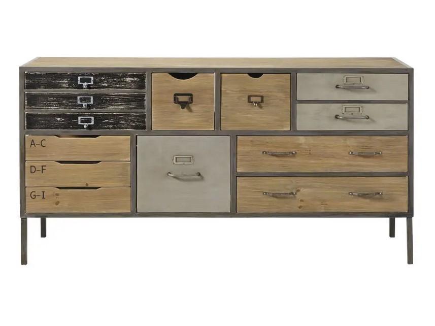 Cabinet de rangement indus Jonas 13 tiroirs en sapin et métal - Maisons du Monde