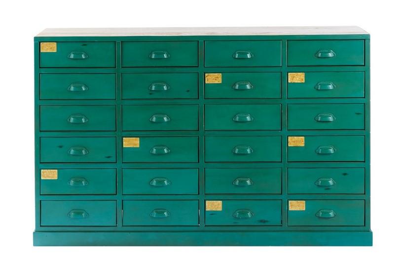 Cabinet indus 24 tiroirs Nino en métal vert  - Maisons du Monde
