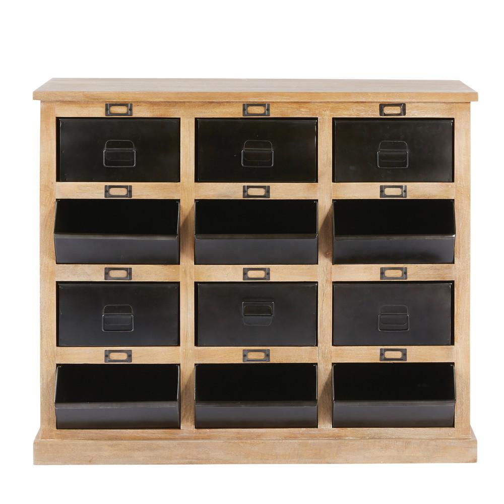 Cabinet vintage 12 casiers FIRMIN en manguier et métal noir - Maisons du Monde