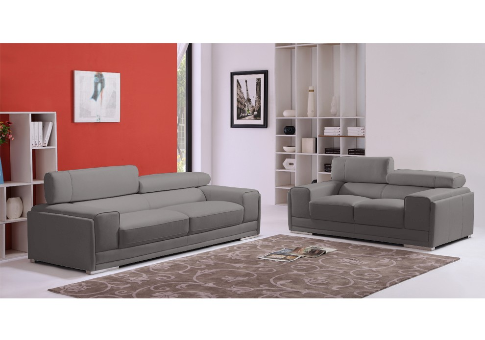 soldes canap london ensemble canap s 2 et 3 places en cuir gris ventes pas. Black Bedroom Furniture Sets. Home Design Ideas