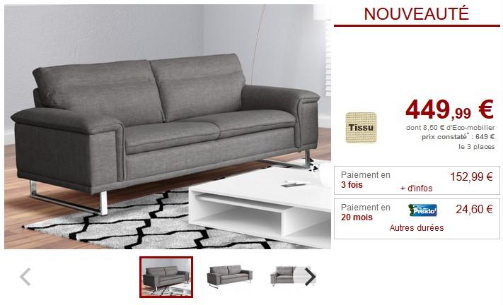 Canapé 3 ou 2 places SULINO en tissu coloris gris - Vente Unique