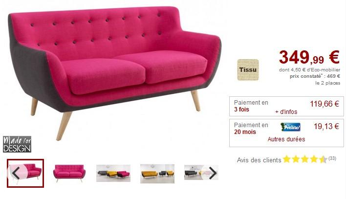 Canapé 2 places SERTI en tissu et coloris fuchsia/gris - Vente Unique