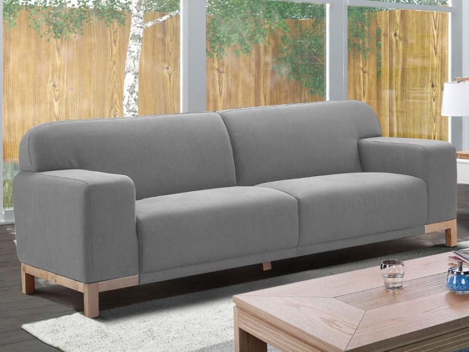canap 3 places en tissu moderne obrian gris clair canap vente unique ventes pas. Black Bedroom Furniture Sets. Home Design Ideas