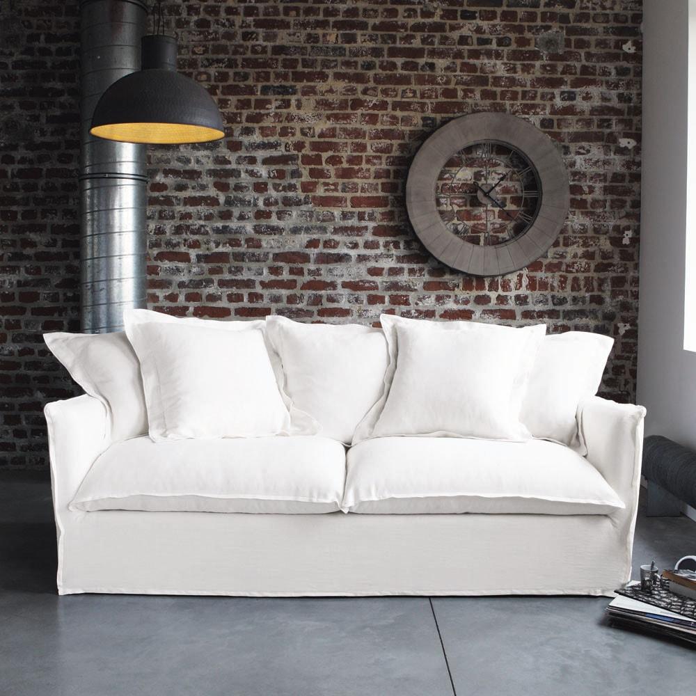 Canapé 3/4 places en lin blanc Barcelone - Maisons du Monde
