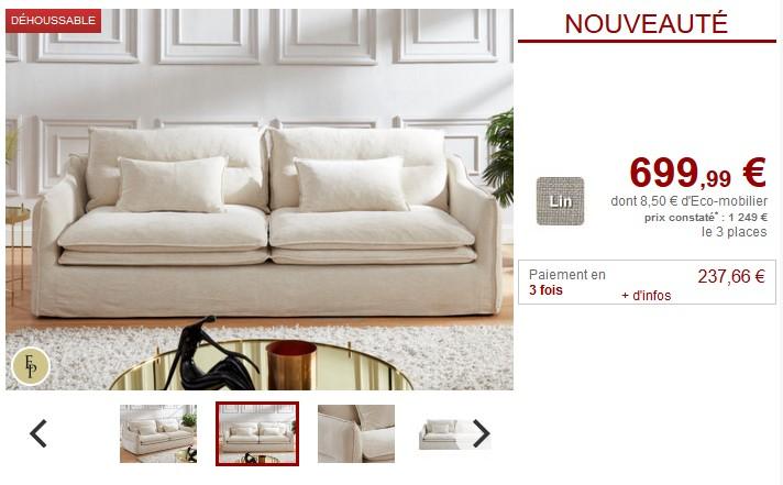 canap 3 places adila en tissu lin et coton coloris blanc. Black Bedroom Furniture Sets. Home Design Ideas
