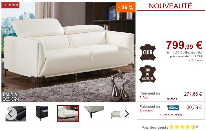Canapé 3 places AVENIO en cuir de vachette blanc - Vente Unique
