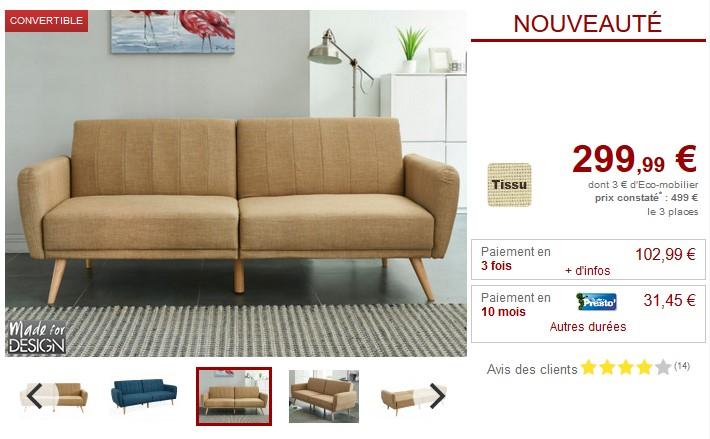 Canapé convertible clic-clac VENLO en tissu 3 coloris - Vente Unique
