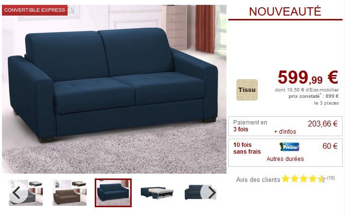 Canapé 3 places convertible express AMYR en tissu 4 coloris - Vente Unique
