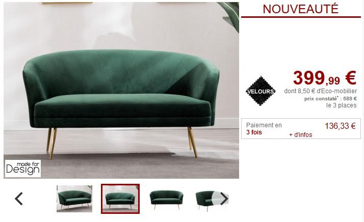 canap 3places domur en velours vert sapin pas cher. Black Bedroom Furniture Sets. Home Design Ideas