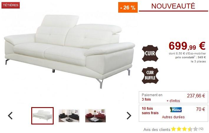 Canapé 3 places KENNEDY en cuir de buffle Ivoire - Vente Unique