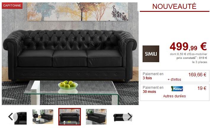 Canapé 3 places capitonné CHESTERFIELD en simili noir - Vente Unique