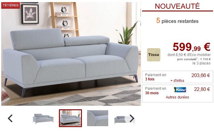 Canapé 3 places VIRGIL en tissu Gris clair ou Bleu chiné - Vente Unique