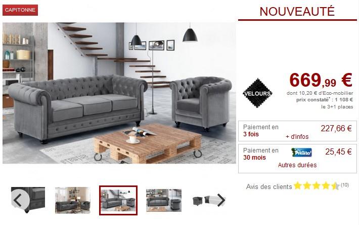 Canapé 3 places et fauteuil Velours argent CHESTERFIELD - Canapé ...
