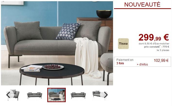 Canapé 3 places TAPOLCA fauteuil et pouf en tissu - Vente Unique