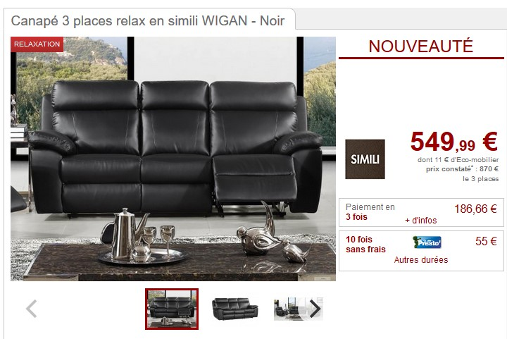 canap 3 places relax wigan en simili coloris noir pas cher canap vente unique ventes pas. Black Bedroom Furniture Sets. Home Design Ideas