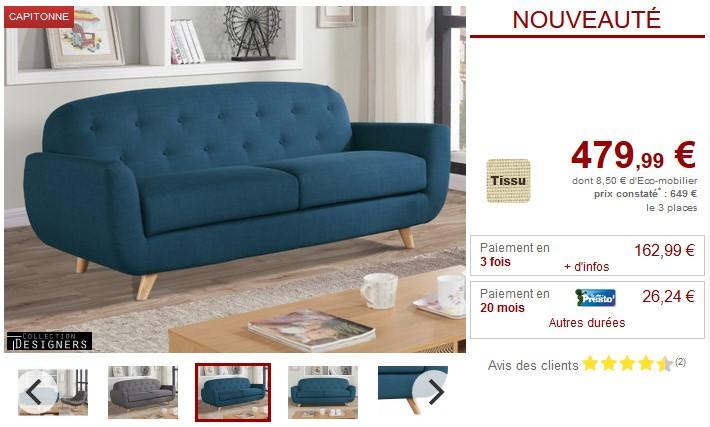 Canapé 3 places ROLAND en tissu Rouge, bleu ou gris chiné - Vente Unique