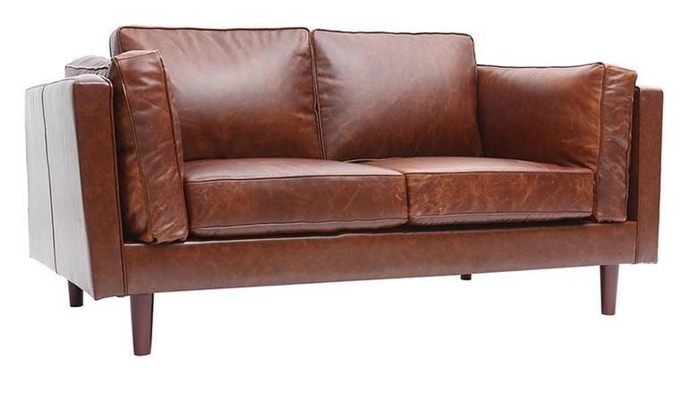 Canapé en cuir vintage 2 places CURTIS marron - Miliboo