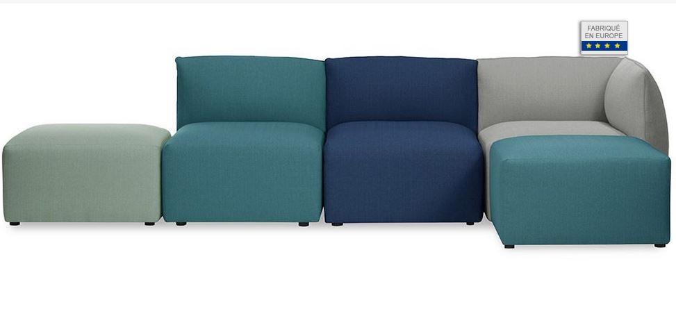 Canapé d'angle 4 places MODULO design modulable multicolore - Miliboo