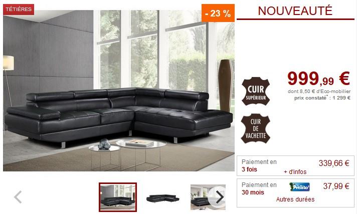 Canapé d'angle en cuir DUNCAN avec têtières noir - Vente Unique