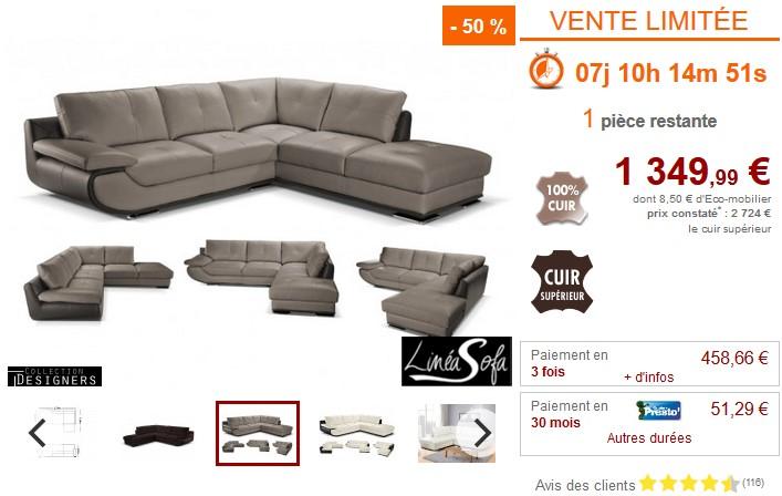 canap d 39 angle xl orgullosa 100 cuir italien pas cher canap vente unique ventes pas. Black Bedroom Furniture Sets. Home Design Ideas