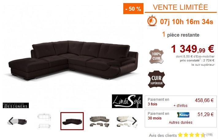 Canapé d'angle XL ORGULLOSA 100% cuir italien - Vente Unique