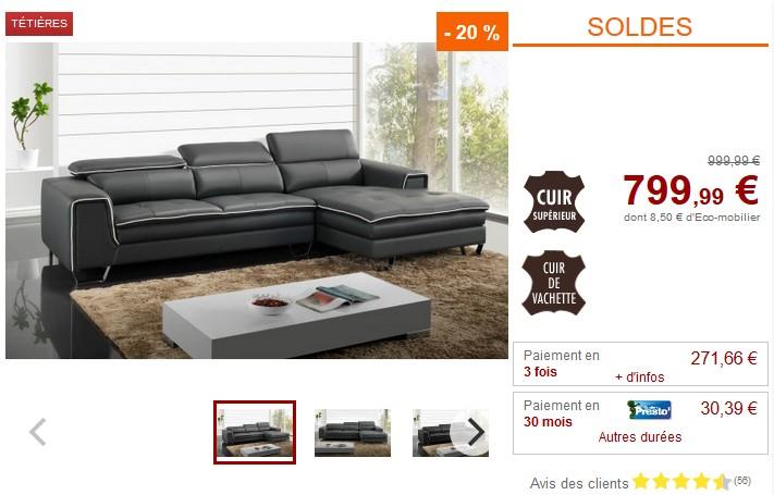 soldes canap vente unique canap d 39 angle oxygene en cuir sup rieur noir ou gris ventes pas. Black Bedroom Furniture Sets. Home Design Ideas
