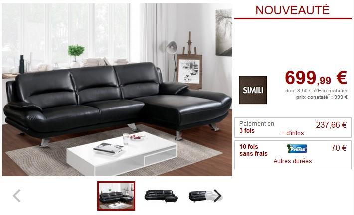 Canapé d'angle en simili noir MUSKO angle droit - Vente Unique