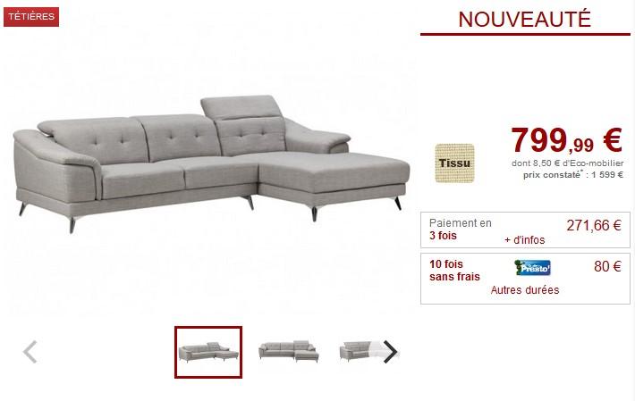Canapé d'angle en tissu COVASNA avec têtières - Vente Unique