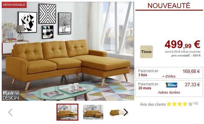 Canapé d'angle en tissu jaune SIGRID Angle droit - Vente Unique