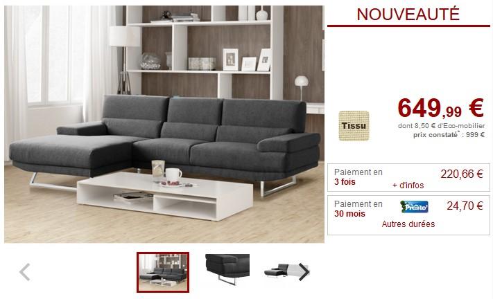 Canapé d'angle design VINGO en tissu gris et beige - Vente Unique