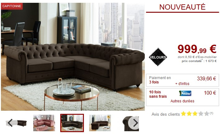 Canapé d'angle en velours chocaloat CHESTERFIELD - Vente Unique