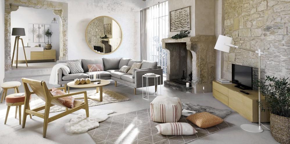Canapé d'angle modulable 5 places COLLINS gris clair - Maisons du Monde