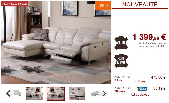 Canapé d'angle relax électrique cuir LISMORE avec têtières - Vente Unique