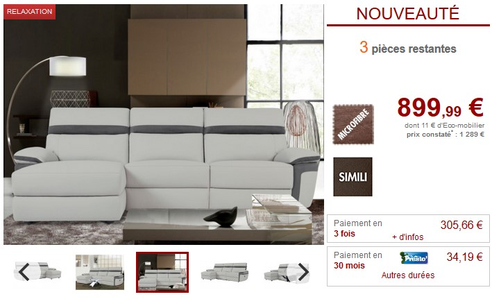canap d 39 angle relax mercutio en microfibre et simili. Black Bedroom Furniture Sets. Home Design Ideas