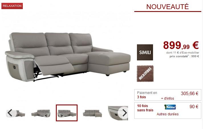 Canapé d'angle droit relax TOBARA simili et microfibre Gris - Vente Unique