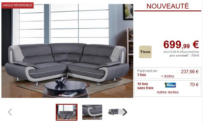 Canapé d'angle symétrique NIGEL en tissu anthracite et gris - Vente Unique