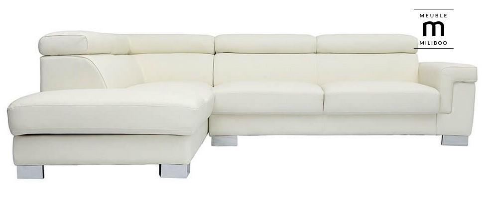 Canapé d'angle cuir FRANKLIN avec coffre et têtières ajustables blanc - Miliboo