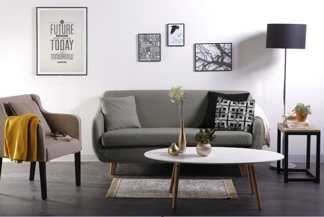 canap design scandinave 3 places gris skandi canap miliboo ventes pas. Black Bedroom Furniture Sets. Home Design Ideas