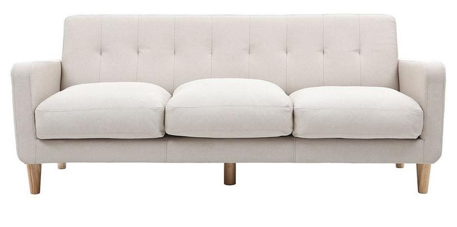 Canapé design scandinave 3 places LUNA tissu coloris naturel - Miliboo