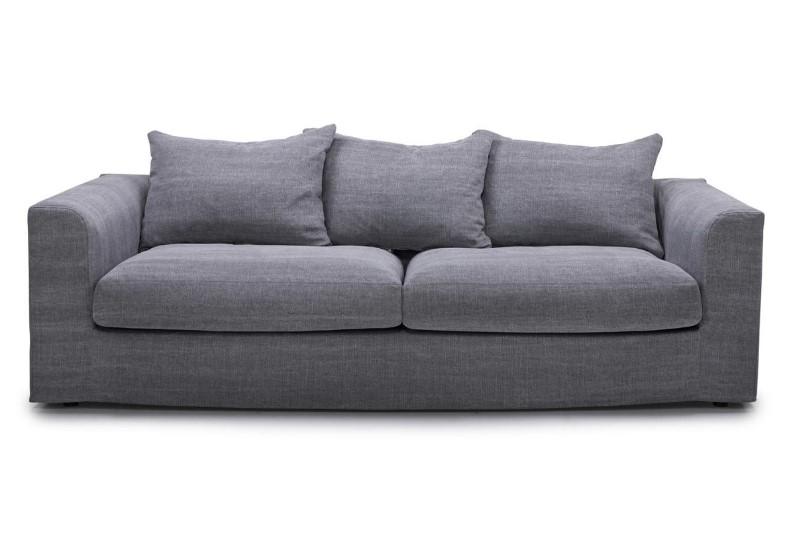 Canapé droit en lin et coton déhoussable Viborg anthracite