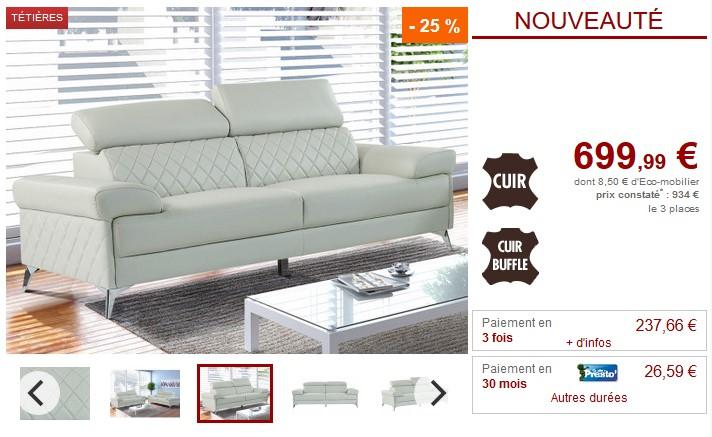 Canapé 3 ou 2 places MAGNUS en cuir gris avec têtières - Vente Unique