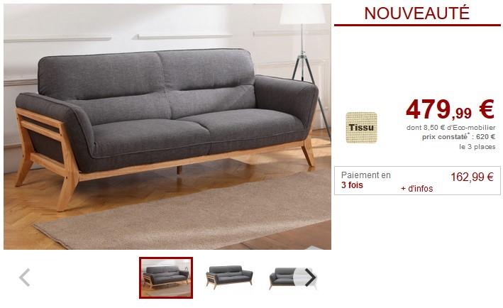 Canapé en tissu BENDIGO avec structure apparente en bois - Vente Unique