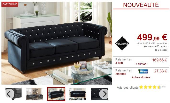 Canapé et fauteuil Velours 9 coloris CHESTERFIELD - Vente Unique