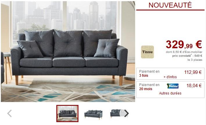 Canapé 3 places en tissu BALVI Anthracite - Vente Unique